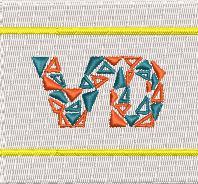 【0010】オリジナル刺繍/AR-09 白地×黄(細)/Fサイズ※シミュレーション画像