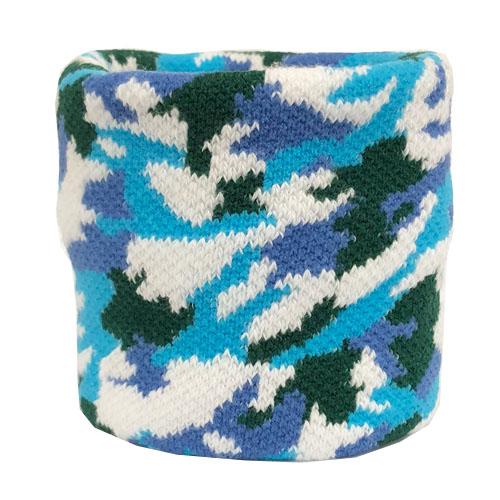【0053】<br>ジャガード織り加工<br>迷彩柄 青